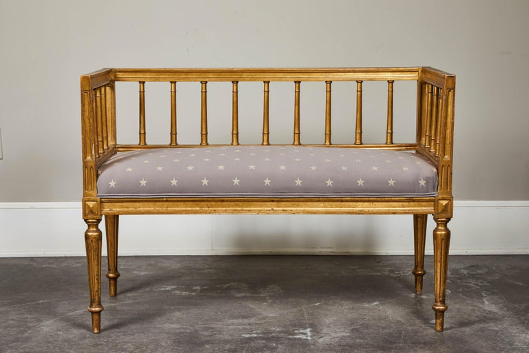 19th Century Swedish Gilded Gustavian Style Bench For Sale 5