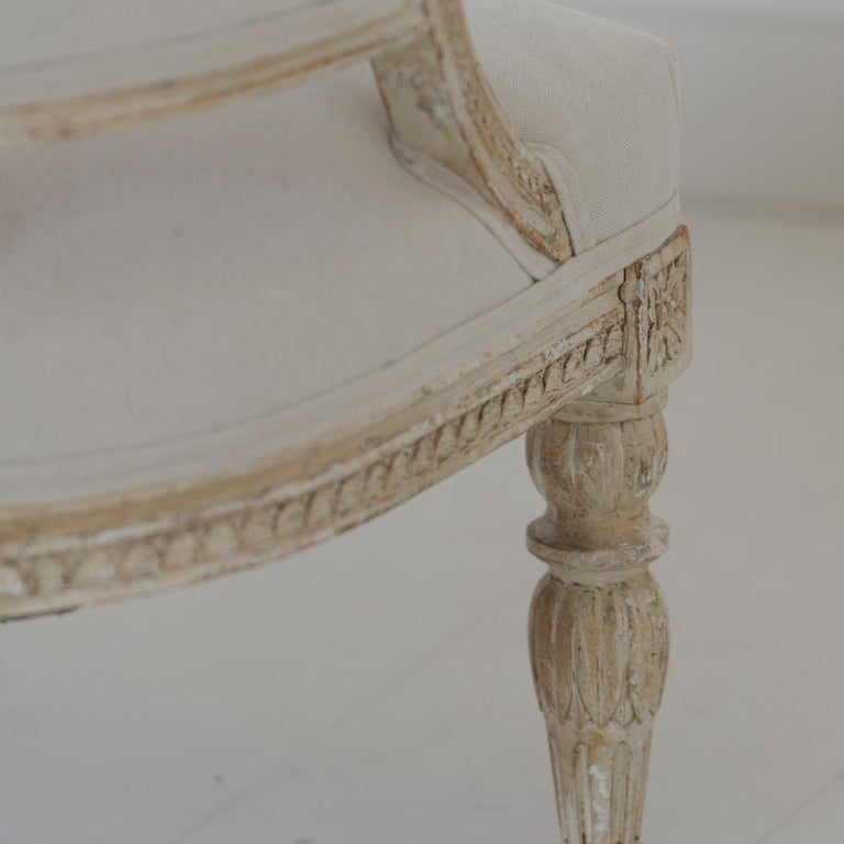 19th Century Swedish Gustavian Style Settee with Goat Heads in Original Paint For Sale 2