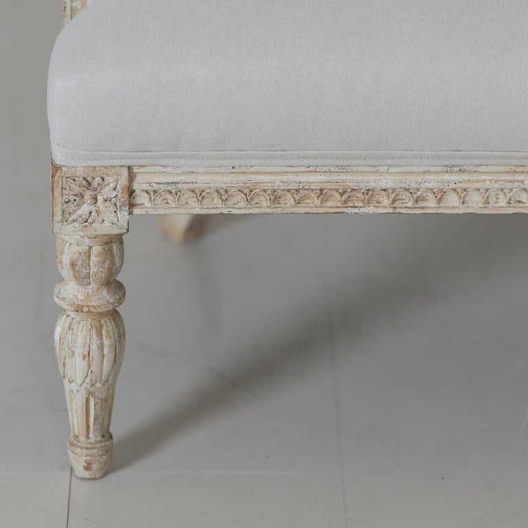19th Century Swedish Gustavian Style Settee with Goat Heads in Original Paint For Sale 4