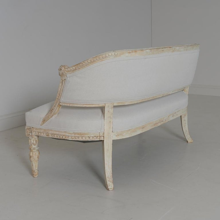 19th Century Swedish Gustavian Style Settee with Goat Heads in Original Paint For Sale 5