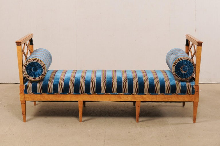 Swedish Neoclassical Style Upholstered Bench with Egyptian Revival Carvings For Sale 5
