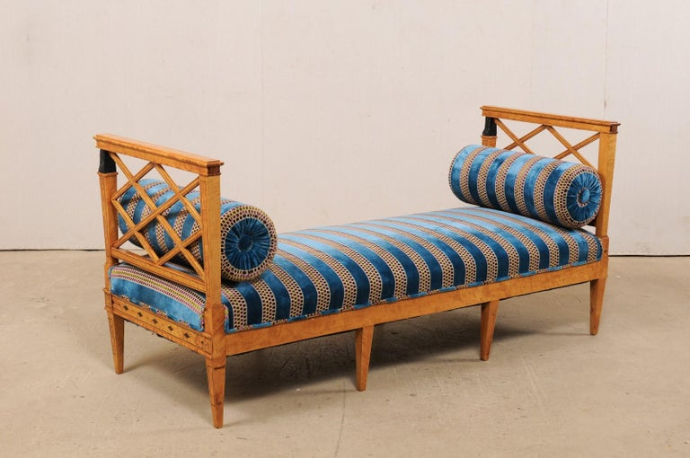 19th Century Swedish Neoclassical Style Upholstered Bench with Egyptian Revival Carvings For Sale