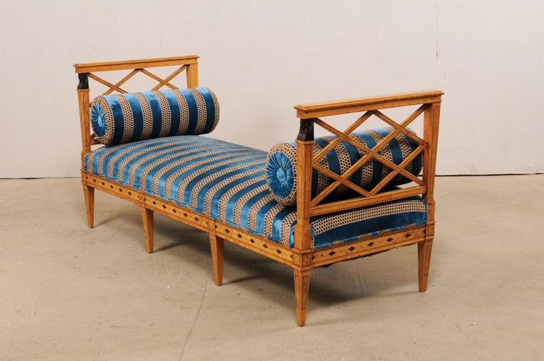 Upholstery Swedish Neoclassical Style Upholstered Bench with Egyptian Revival Carvings For Sale
