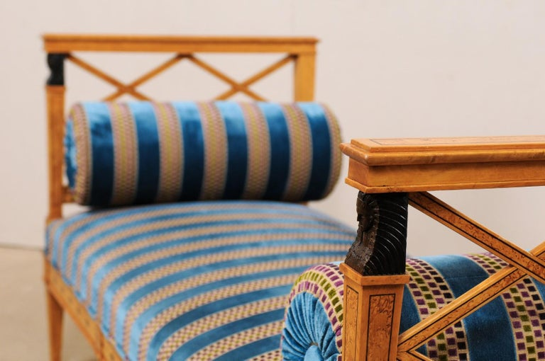 Swedish Neoclassical Style Upholstered Bench with Egyptian Revival Carvings For Sale 1