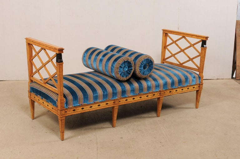 Swedish Neoclassical Style Upholstered Bench with Egyptian Revival Carvings For Sale 3
