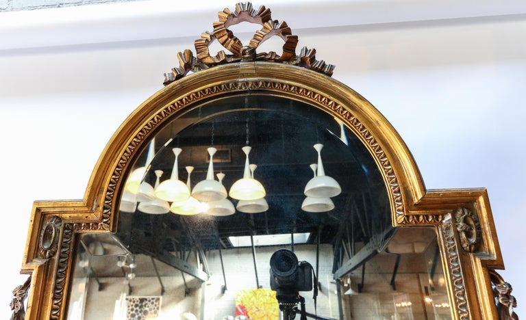 French 19th Century Tall Louis XVI Carved Giltwood Mirror For Sale