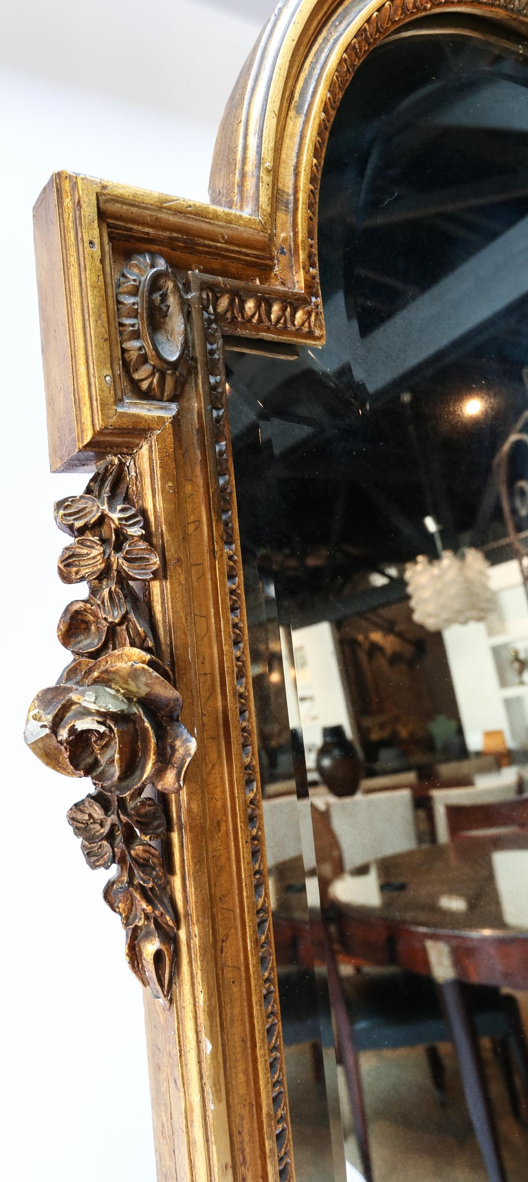 19th Century Tall Louis XVI Carved Giltwood Mirror In Fair Condition For Sale In Los Angeles, CA