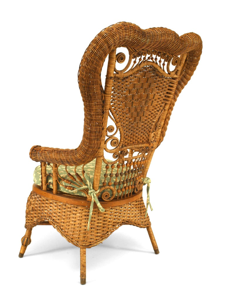 19th c. Whitney Reed High Back Wicker Armchair In Good Condition For Sale In New York, NY