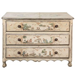 19th Century, Decoupage, Crème Painted Commode