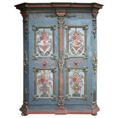 19th Carved Blu Floral Painted Wardrobe, 1823