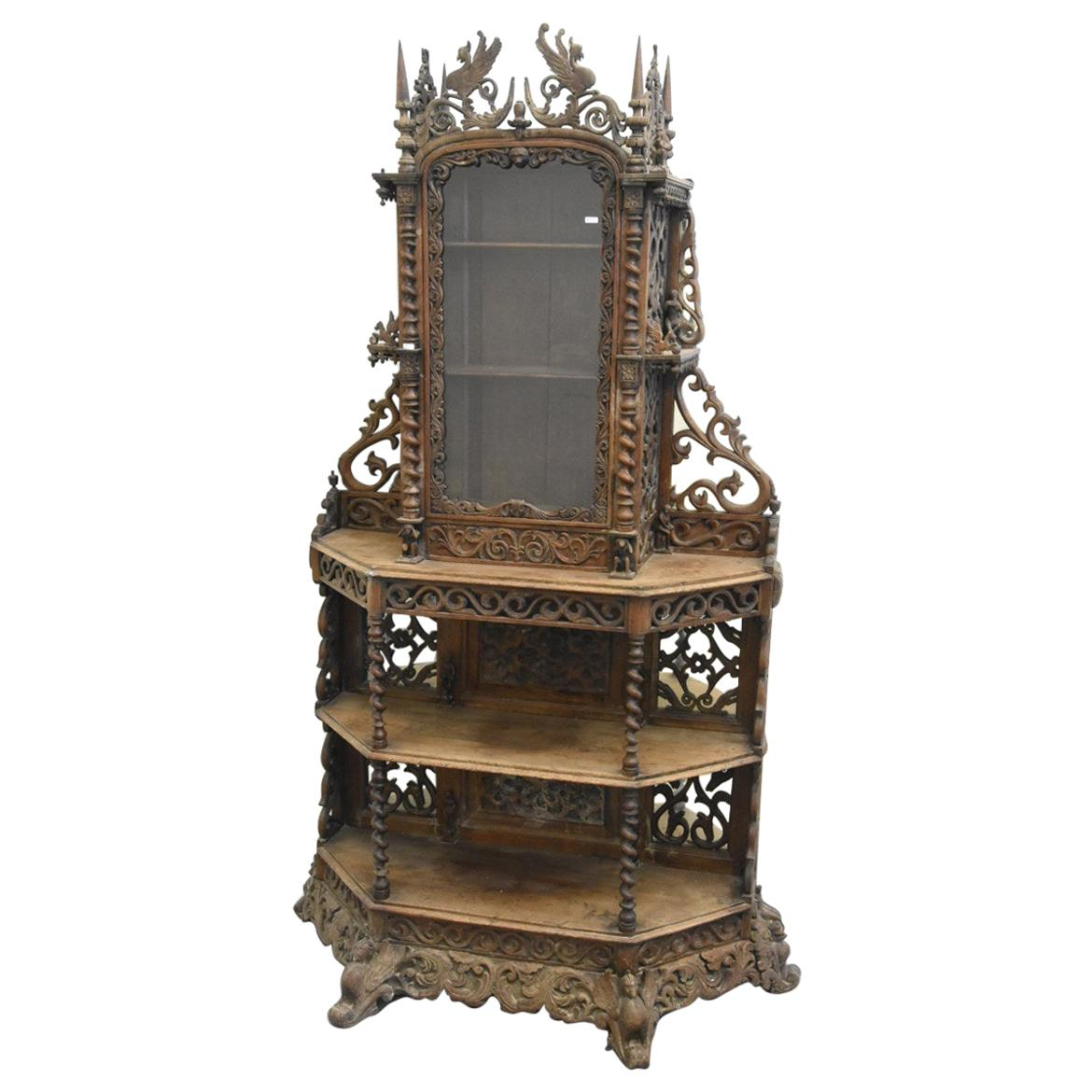19th Carved Oak Cabinet with Characters and Animals Decor