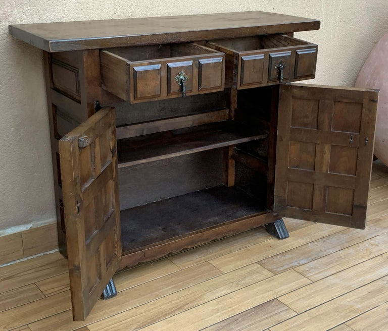 Iron 19th Catalan Spanish Baroque Carved Walnut Tuscan Two Drawers Credenza or Buffet For Sale