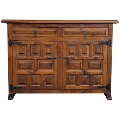 19th Catalan Spanish Baroque Carved Walnut Tuscan Two Drawers Credenza or Buffet
