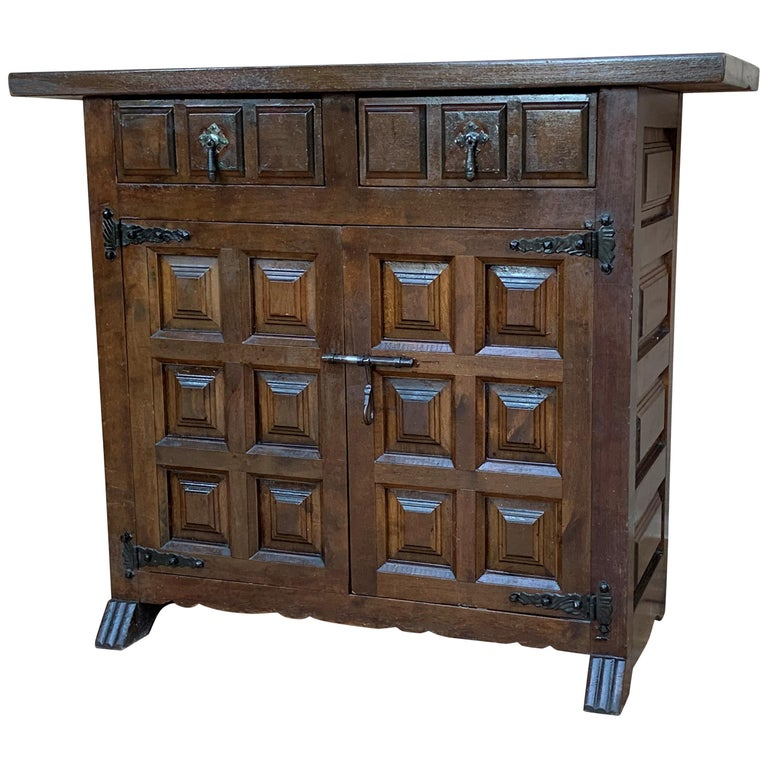 19th Catalan Spanish Baroque Carved Walnut Tuscan Two Drawers Credenza or Buffet For Sale