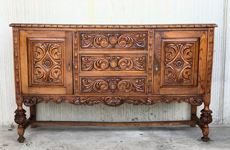 Spanish Colonial 19th Century Catalan Spanish Buffet with Two Carved Drawers and Two Doors For Sale