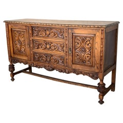 19th Century Catalan Spanish Buffet with Two Carved Drawers and Two Doors