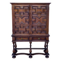 19th Catalan Spanish Cabinet on Stand in Carved Walnut and Iron Stretcher