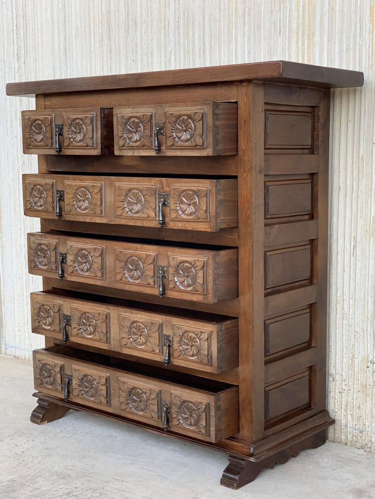 size 40 103eb 4966c 19th Catalan Spanish Carved Walnut Chest of Drawers, Highboy or Console