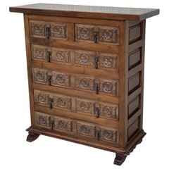19th Catalan Spanish Carved Walnut Chest of Drawers, Highboy or Console