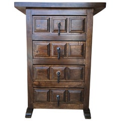 19th Century Catalan Spanish Carved Walnut Chest of Drawers, Highboy or Console