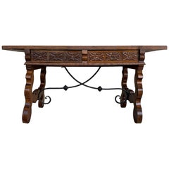 19th Catalan Spanish Desk or Console Table in Carved Walnut and Iron Stretcher