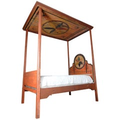 American Painted Folk Art Canopy Bed, Ex. Collection of Estee Lauder