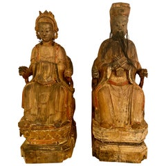 19th Century Antique Chinese Statues of Emperor and Empress in Wood