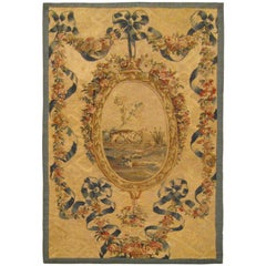 19th Century French Aubusson Needlepoint Tapestry, Ribbon Weave and Pendant