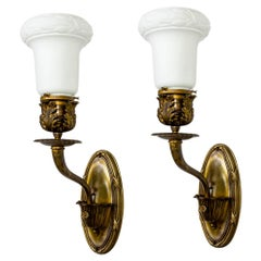19th Cent, Armed Sconces w/ Neoclassical Details & Milk Glass Shades, 'Pair'