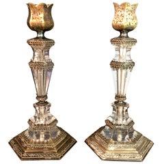 19th Century Austrian Rock Crystal Gilt Silver Candlesticks
