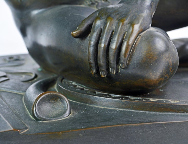 19th Century Bronze Statue the Dying Gaul by B. Boschetti Roma after the Antique For Sale 7