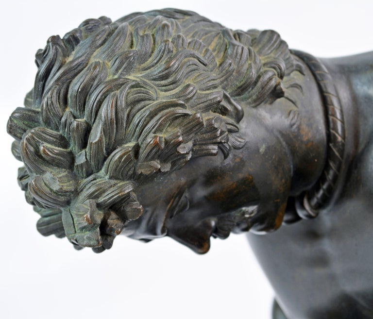 19th Century Bronze Statue the Dying Gaul by B. Boschetti Roma after the Antique For Sale 8