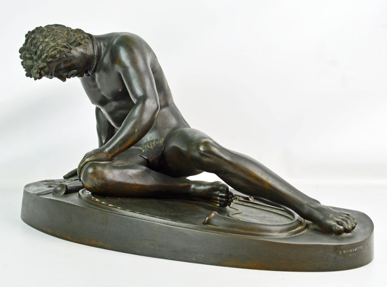 Greco Roman 19th Century Bronze Statue the Dying Gaul by B. Boschetti Roma after the Antique For Sale