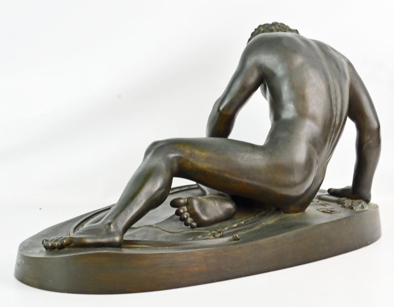 Italian 19th Century Bronze Statue the Dying Gaul by B. Boschetti Roma after the Antique For Sale