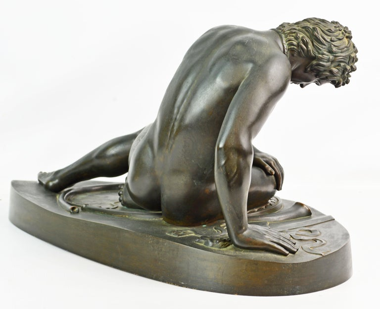 Patinated 19th Century Bronze Statue the Dying Gaul by B. Boschetti Roma after the Antique For Sale