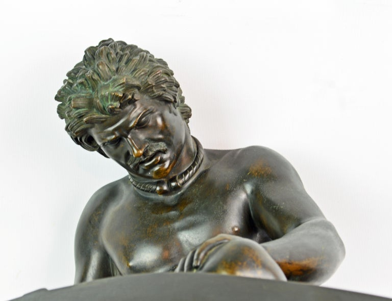 19th Century Bronze Statue the Dying Gaul by B. Boschetti Roma after the Antique For Sale 1