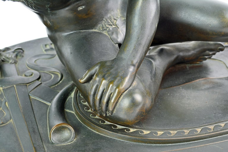 19th Century Bronze Statue the Dying Gaul by B. Boschetti Roma after the Antique For Sale 2
