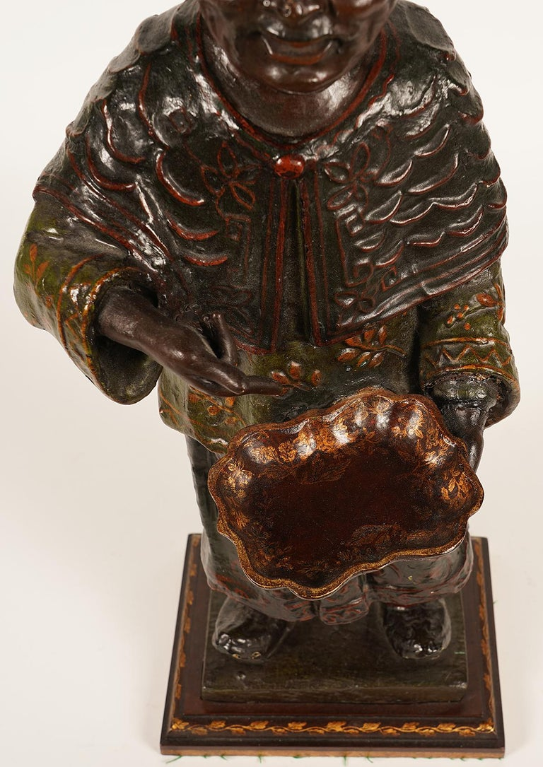 Painted 19th Century Chinese Export Paper Mache Figure, Imperial Servant with Card Tray