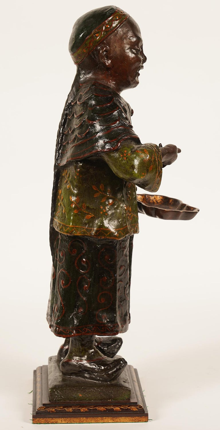 19th Century Chinese Export Paper Mache Figure, Imperial Servant with Card Tray In Distressed Condition In Ft. Lauderdale, FL