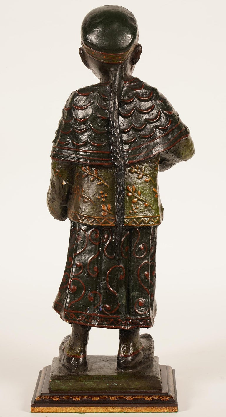 19th Century Chinese Export Paper Mache Figure, Imperial Servant with Card Tray 1