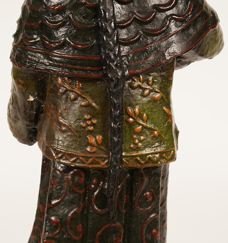 19th Century Chinese Export Paper Mache Figure, Imperial Servant with Card Tray 2