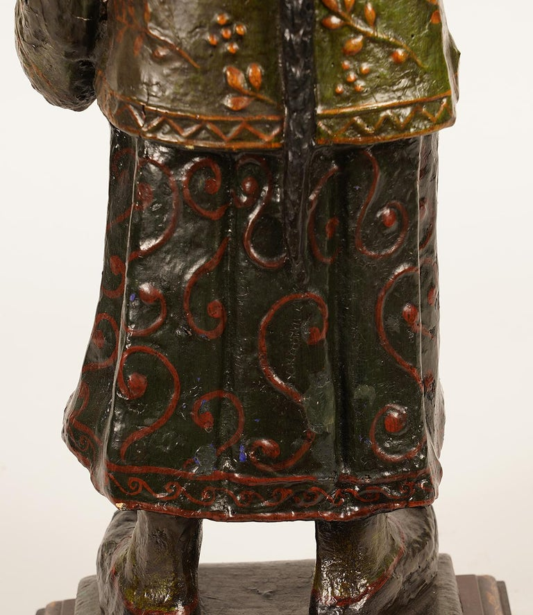 19th Century Chinese Export Paper Mache Figure, Imperial Servant with Card Tray 3
