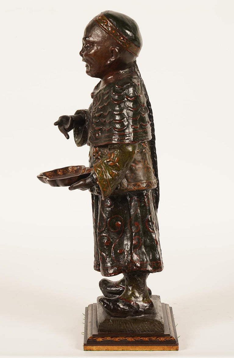 19th Century Chinese Export Paper Mache Figure, Imperial Servant with Card Tray 4