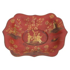 19th Cent. English Chinoiserie Red Lacquer and Gilt Decoration Shallow Tole Bowl