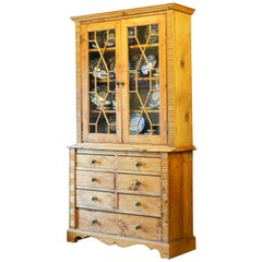 English Country Style Two-Part Step Back Pine Cupboard with Glass Doors