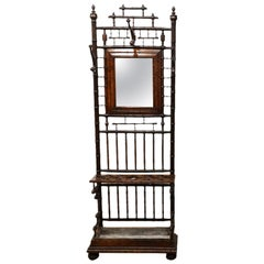 19th Cent. English Late Victorian Chinoiserie Faux Bamboo Hall Tree with Mirror