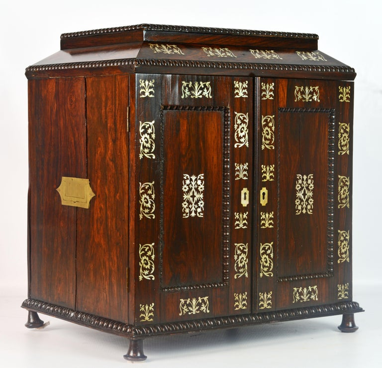 English Rosewood and Mother of Pearl Inlay Collector's Table Cabinet 2