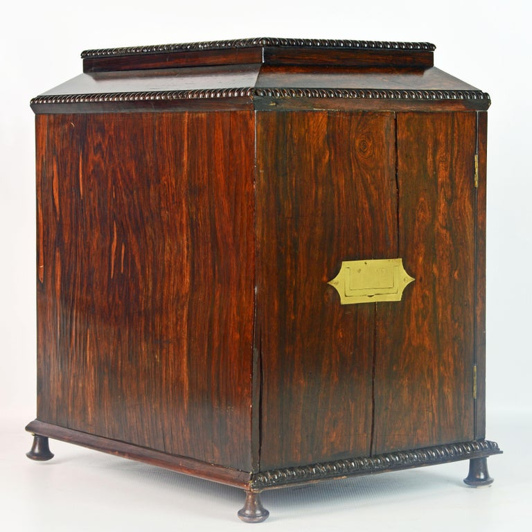 English Rosewood and Mother of Pearl Inlay Collector's Table Cabinet 3