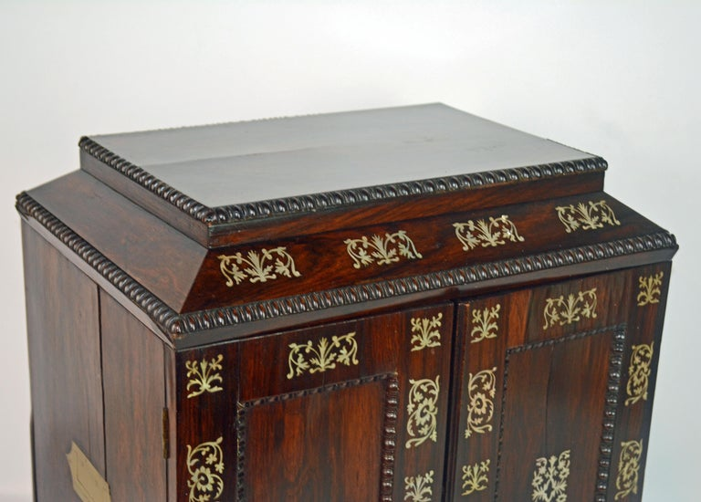English Rosewood and Mother of Pearl Inlay Collector's Table Cabinet 4
