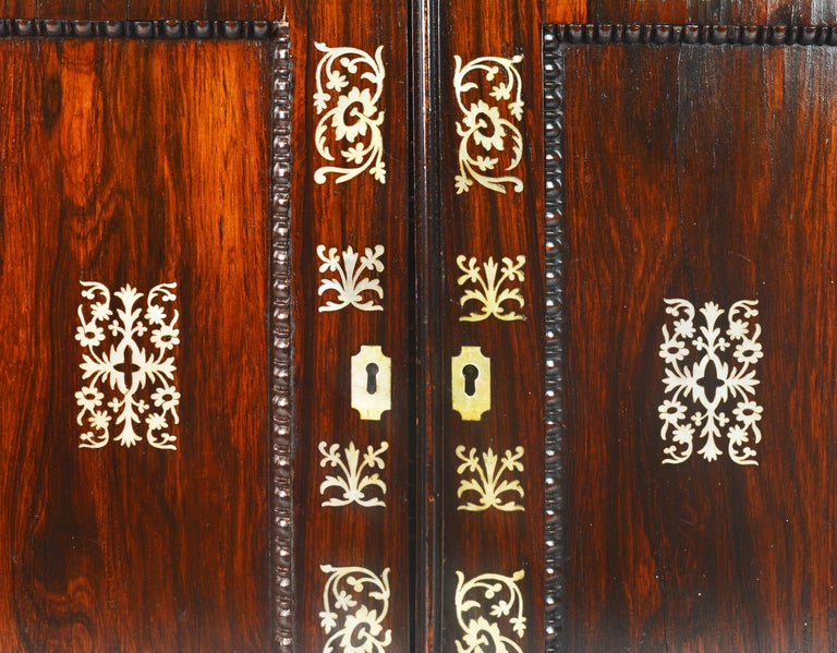 English Rosewood and Mother of Pearl Inlay Collector's Table Cabinet 8